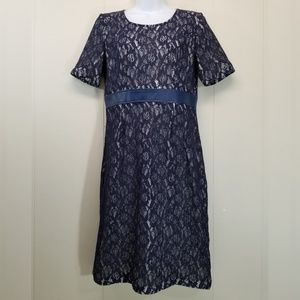 Downeast M Dress Blue Floral Lace Modest Formal